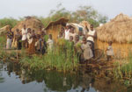 Thumbnail of Fishing camp on an island in Lake Upemba, upper Congo River Basin. Fishermen and their families usually spend several weeks every year in camps like this, in which the lake is the only source of water. Because there is no firewood in such areas, campaigns promoting the boiling of water are useless. (Photograph by Didier Bompangue.)