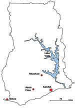 Thumbnail of Location of populations in a study of bacteremia and antimicrobial drug resistance over time, Ghana.