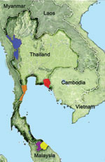 Thumbnail of Provinces of Thailand where blood samples were obtained and tested for malaria, 1996–2009. Tak: blue, n = 210 in 1996, n = 681 in 2006–2007, and n = 1,216 in 2008–2009; Prachuab Khirikhan: orange, n = 215 in 2006–2007; Yala: purple, n = 286 in 2006–2007 and n = 1,408 in 2008–2009; Narathiwat: yellow, n = 370 in 2006–2007 and n = 421 in 2008–2009; and Chantaburi: red, n = 261 in 2006–2007 and n = 401 in 2008–2009.