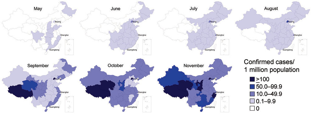 Incidence of confirmed cases of influenza A(H1N1)pdm09 virus infection per 1,000,000 inhabitants, by month and province, People's Republic of China, May–November 2009.