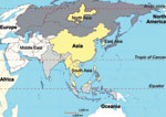 Thumbnail of Areas in Asia where outbreaks of highly pathogenic porcine reproductive and respiratory virus syndrome occurred. The countries or regions affected (North Asia, East Asia, Asia, and South Asia) are indicated.