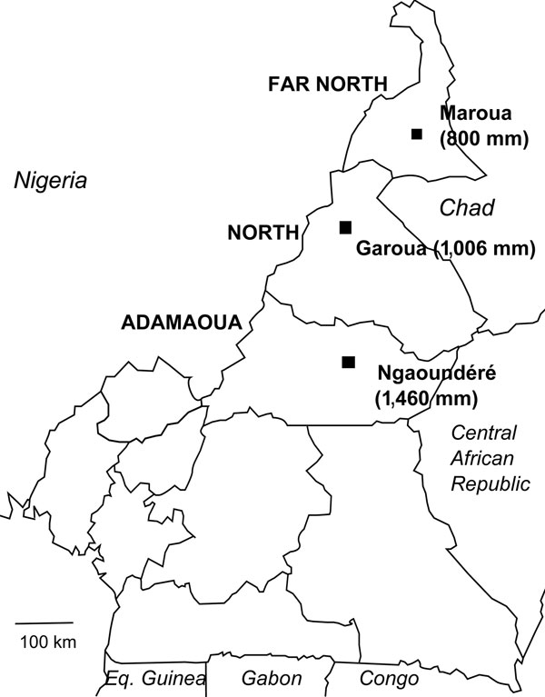 Northern regions of Cameroon with mean annual rainfall. Maroua is at the 800 mm isohyet line, Garoua at 1,006 mm, and Ngaoundéré at 1,460 mm. Estimate for Maroua is by the Agency for Aerial Navigation Safety in Africa and Madagascar; recorded rainfall for Garoua and Ngaoundéré are by the Agency for Aerial Navigation Safety in Africa and Madagascar. Eq. Guinea, Equatorial Guinea.
