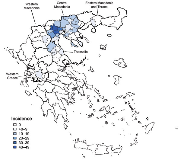 Incidence per 100,000 population of 197 reported cases of West Nile neuroinvasive disease, by township of residence, Greece, July–October 2010. Districts with >1 reported neuroinvasive cases were divided into townships. Dark black lines indicate borders of Central Macedonia (north) and Thessalia (south).