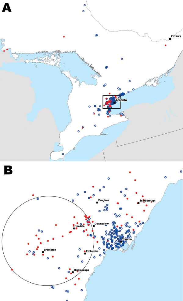 Locations of persons from whom 990 blood samples were taken and tested for malaria by the Ontario Agency for Health Protection and Promotion, Ontario, Canada, 2008–2009. Red dots, malaria case-patients (positive test results); blue circles, controls (negative test results). A) All observations; B) the most significant space–time cluster for malaria patients (circle), greater Toronto area, during May 15–November 6, 2008 (relative risk 3.54; p<0.01).