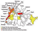Thumbnail of Geographic distribution of oxacillinase-48 (OXA-48) type producers.