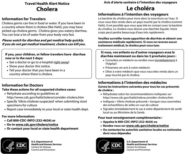 Travel health alert notice for January 2011 Haiti cholera outbreak showing English and French versions. Haitian-Creole and Spanish versions were printed on the reverse side (not shown).