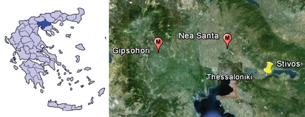 A) Region of Greece where West Nile virus (WNV) was found. B) Residence of the blood donor from whom WNV was isolated (yellow pin) and places where WNV-positive Culex pipiens mosquitoes were collected (red pins).