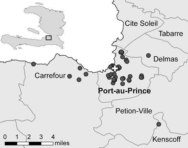 Locations of the Haitian Group for the Study of Kaposi's Sarcoma and Opportunistic Infections Cholera Treatment Center and case-patient households in Port-au-Prince, Haiti, 2010. Cross indicates cholera treatment center location; circles indicate households.