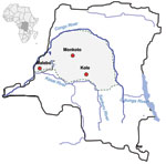 Thumbnail of Sites in the Democratic Republic of Congo where dried blood spots of nonhuman primates were collected (red circles).
