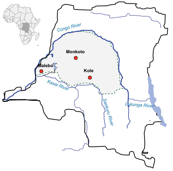 Sites in the Democratic Republic of Congo where dried blood spots of nonhuman primates were collected (red circles).