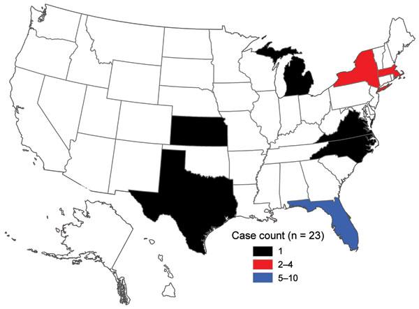 Geographic distribution of cholera cases in the United States associated with Hispaniola, October 21, 2010–April 4, 2011.