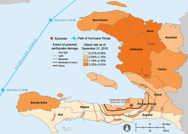 Administrative departments of Haiti affected by the earthquake of January 12, 2010; the path of Hurricane Tomas, November 5–6, 2010; and cumulative cholera incidence by department as of December 28, 2010.