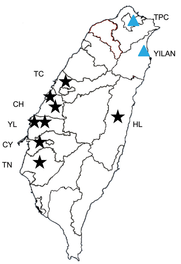 Location of pig farms from which mosquitoes were collected for phylogenetic analysis of Japanese encephalitis virus (JEV) isolates, Taiwan, 2009–2010. Black stars indicate location of pig farms. Blue triangles indicate locations at which genotype I JEV was first detected by the Taiwan Centers for Disease Control (9). CH, Changhua County; CY, Chiayi County; HL, Hualien County; TC, Taichung County; TN, Tainan County; TPC, Taipei City; YL, Yulin County.