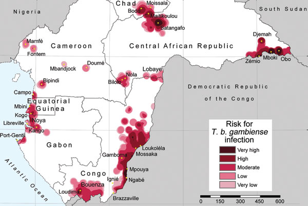 Lambert azimuthal equal-area projection (www.quadibloc.com/maps/maz0204.htm) of risk for infection with Trypanosoma brucei gambiense, central Africa, 2000–2009.