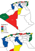 Thumbnail of Seroprevalence of bluetongue virus in cattle, sheep, goats, and camels, by province (wilaya), Algeria, 2008. A) Entire country; B) Northern Algeria. 1, Aïn Témouchent; 2, Algiers; 3, Annaba; 4, Béjaïa; 5, Blida; 6, Boumerdès; 7, Chlef; 8, El Tarf; 9, Jijel; 10, Mostaganem; 11, Naama; 12, Oran; 13, Skikda; 14, Souk Ahras; 15, Tébessa; 16, Tipasa; 17, Tizi Ouzou; 18, Tlemcem.