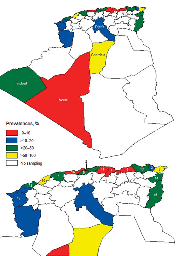 Seroprevalence of bluetongue virus in cattle, sheep, goats, and camels, by province (wilaya), Algeria, 2008. A) Entire country; B) Northern Algeria. 1, Aïn Témouchent; 2, Algiers; 3, Annaba; 4, Béjaïa; 5, Blida; 6, Boumerdès; 7, Chlef; 8, El Tarf; 9, Jijel; 10, Mostaganem; 11, Naama; 12, Oran; 13, Skikda; 14, Souk Ahras; 15, Tébessa; 16, Tipasa; 17, Tizi Ouzou; 18, Tlemcem.