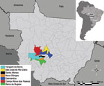 Thumbnail of State of Mato Grosso, Brazil, indicating municipalities where hanta pulmonary syndrome cases occurred.