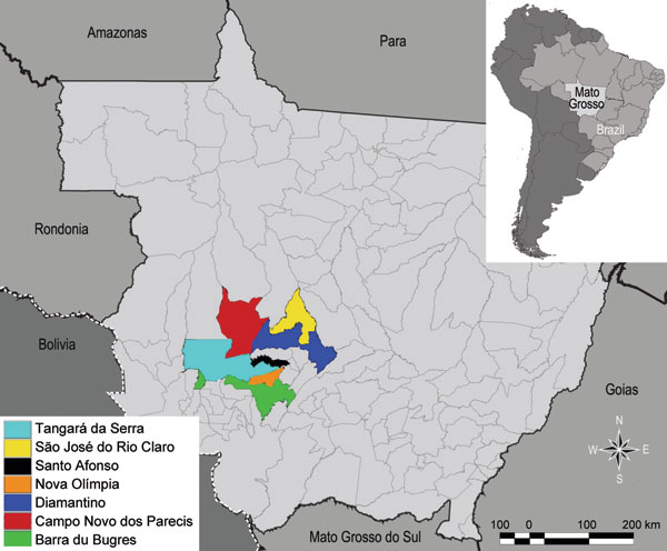 State of Mato Grosso, Brazil, indicating municipalities where hanta pulmonary syndrome cases occurred.