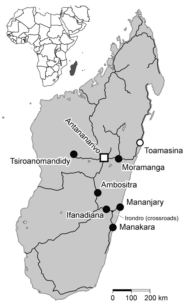 Madagascar (gray shading in inset), showing the main roads, the capital of Antananarivo (square), the harbor city of Toamasina (white circle), and the locations of the 6 study sites (black circles) from which serologic samples from pregnant women were screened for IgG against chikungunya virus, dengue virus, and Rift Valley fever virus. The altitudes of the locations are as follows: Mananjary and Manakar, coastal; Ifanadiana, 466 m; Moramanga, 920 m; Tsiroanomandidy, 860 m; Ambositra, 1,280 m; T