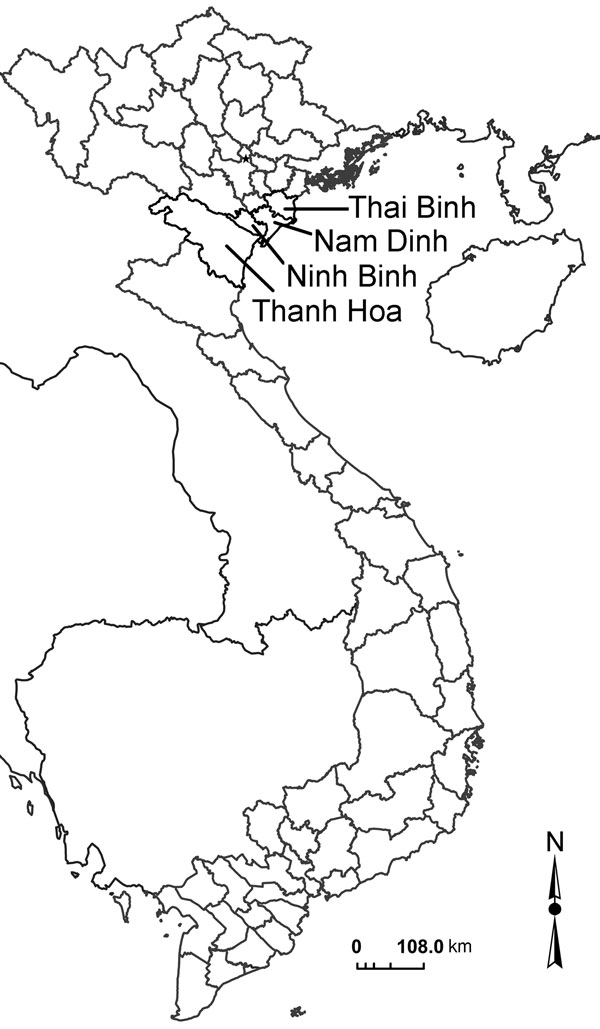 The 4 River Delta provinces of Vietnam (light gray borders).