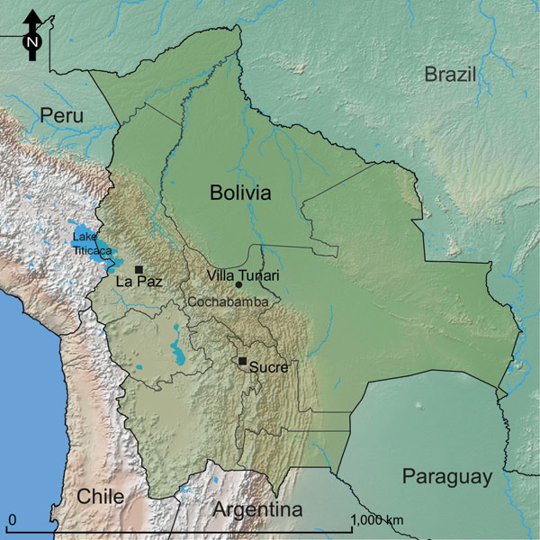 Location of Villa Tunari, Department of Cochabamba, Bolivia, the area where patients with hantavirus infection were recruited. The constitutional (Sucre) and administrative (La Paz) capitals of Bolivia are shown for reference.