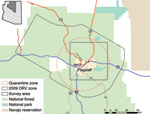 Thumbnail of Flagstaff, Arizona, USA, survey area in relation to quarantine and oral rabies vaccination (ORV) zones.