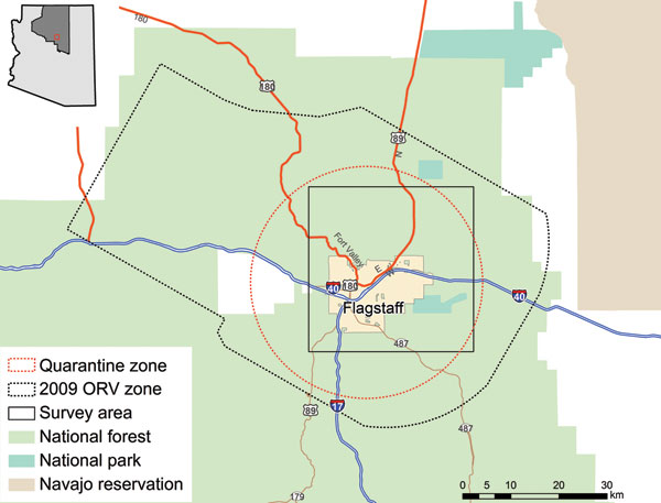 Flagstaff, Arizona, USA, survey area in relation to quarantine and oral rabies vaccination (ORV) zones.