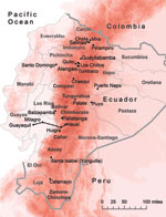Thumbnail of Ecuador showing elevation (red shading), provinces (thin gray lines and boldface), country border (thick gray line), and 15 cities/valleys (black dots). Approximate location of the historic railway between Guayaquil and Alausí is indicated by black railroad tracks, and increasing altitude is indicated by darker shades of red. Map was constructed by using ArcGIS version 10 (ESRI, Redlands, CA, USA).