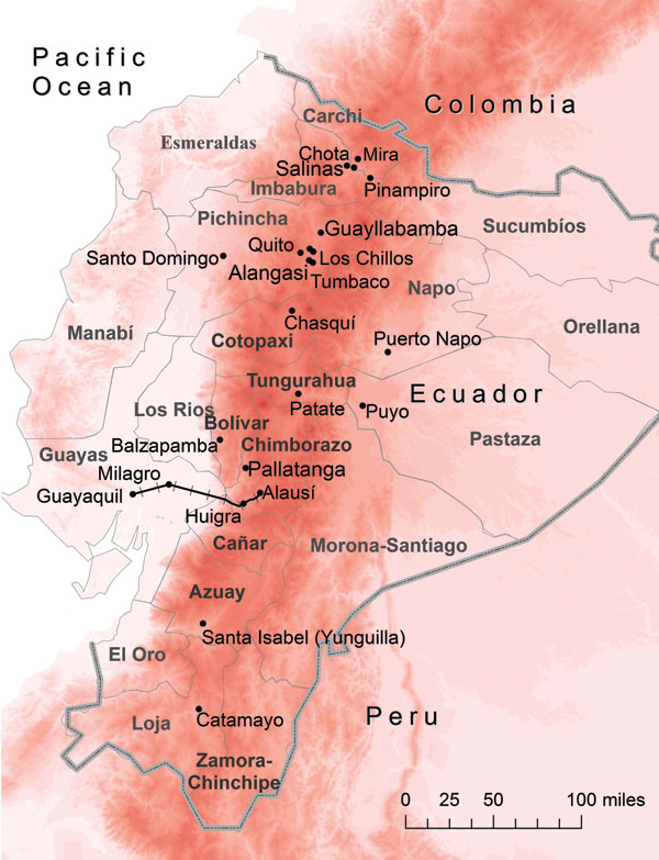 Ecuador showing elevation (red shading), provinces (thin gray lines and boldface), country border (thick gray line), and 15 cities/valleys (black dots). Approximate location of the historic railway between Guayaquil and Alausí is indicated by black railroad tracks, and increasing altitude is indicated by darker shades of red. Map was constructed by using ArcGIS version 10 (ESRI, Redlands, CA, USA).