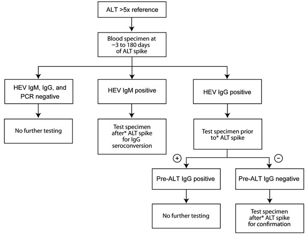 Testing strategy for acute hepatitis E virus (HEV) infection among US military beneficiaries who had had increased alanine aminotransferase (ALT) levels during 1985–2009.
