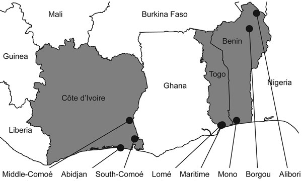 Collection sites of bird and pig samples, West Africa, 2006–2008. Côte d'Ivoire, Benin, and Togo are in gray. Sampling provinces are indicated by black circles.