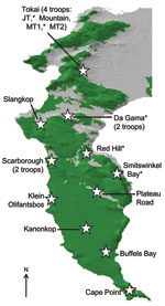 Thumbnail of Cape Peninsula in South Africa, showing position and name of the different regions that have baboon troops. Baboons were sampled from those regions denoted by an asterisk. Green denotes natural land, and gray shows the current extent of urban and agricultural land on the Peninsula.