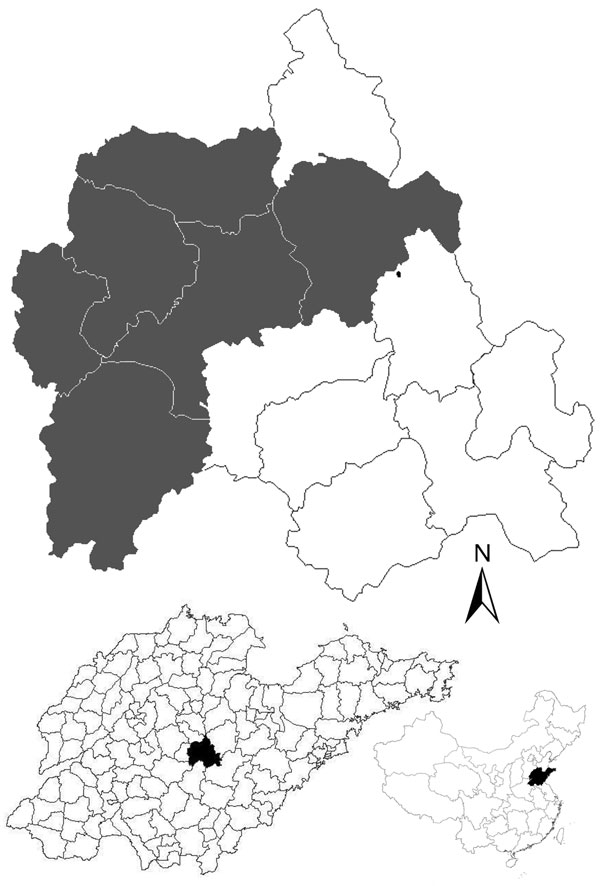 Location of the villages (gray shading) in Yiyuan County, Shandong Province, China, where human and goat serum samples were collected in study of severe fever with thrombocytopenia syndrome seroprevalence. Maps at bottom show location of Yiyuan County in Shandong Province (left) and Shandong Province in China (right).