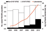 Thumbnail of Rate of reported O157 and non-O157 Shiga toxin (Stx)–producing Escherichia coli (STEC) infections and number of laboratories performing Stx testing by year, Washington State, USA, 2005–2010.