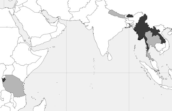 Geographic location and background of refugee populations sampled for antibodies against Taenia solium cysticerci by using the classic enzyme-linked immunoelectrotransfer blot for lentil-lectin purified glycoprotein. Countries of origin are shaded dark grey (Burundi, Bhutan, Burma [Myanmar], Laos). Host countries are shaded light grey (Tanzania, Nepal, Thailand). Burundi: ≈14,000 Burundian refugees who lived in camps in Tanzania since 1972 were resettled during 2006–2008. Resettled refugees were