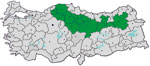 Thumbnail of Provinces in Turkey where the study was conducted and to which Crimean-Congo hemorrhagic fever virus is endemic (green), January–April 2009. Gray indicates other provinces and dots indicate major cities.