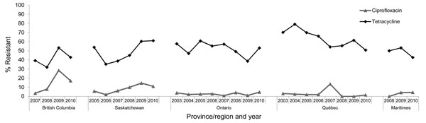 Temporal trends in ciprofloxacin and tetracycline resistance among Campylobacter isolates from chicken, Canada, 2003–2010. Data for 2003 to 2009 were published in the CIPARS 2009 Preliminary Report (www.phac-aspc.gc.ca/cipars-picra/2009/1-eng.php#fig_21). Data for 2010 were published in the CIPARS 2010 Short Report (can be requested at www.phac-aspc.gc.ca/cipars-picra/pubs-eng.php). CIPARS, Canadian Integrated Program for Antimicrobial Resistance Surveillance, Public Health Agency of Canada.