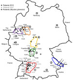 Thumbnail of Distribution of investigated Puumala virus infections in Germany. Black dots indicate sequences obtained from patients samples in 2010; gray dots indicate sequences obtained from patient samples in 2007; diamonds indicate sequences obtained from rodent (Myodes glareolus) samples. Areas surrounded by lines indicate outbreak regions (numbered 1–6) where Puumala virus nucleotide sequences of human and vole origin have been analyzed. Numbers of the outbreak regions/virus clades and desi