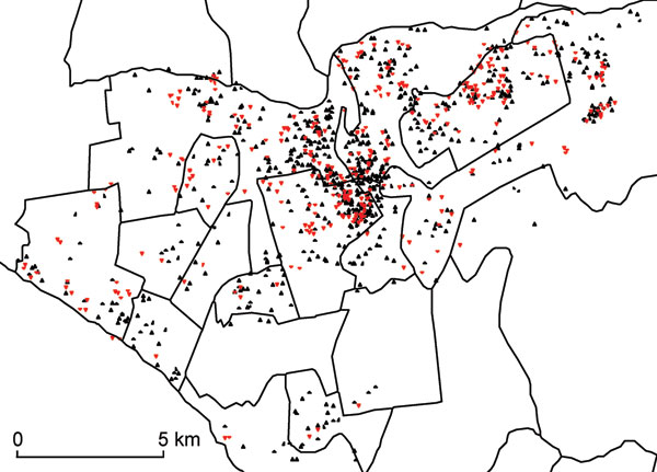 Spatial distribution of drug-sensitive (black triangles) and drug-resistant (red triangles) tuberculosis among patients who received drug susceptibility testing, Lima Ciudad and Lima Este, Peru, 2005–2007. A small random error was added to the spatial coordinates for each patient to protect confidentiality.