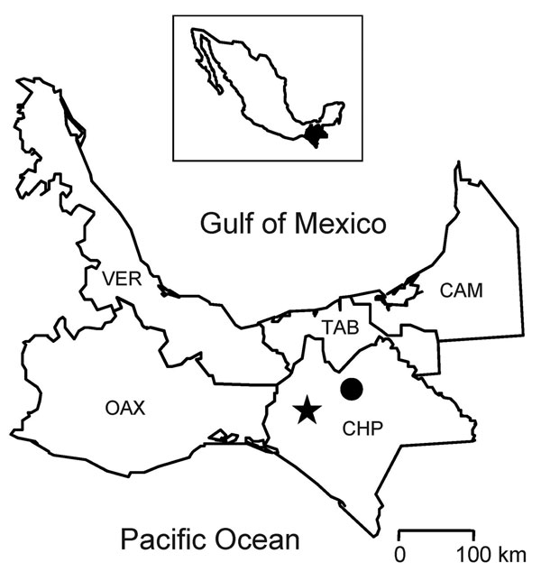 Five states in southern Mexico in which rodents were captured. The star indicates where the rodents in this study were captured; the solid circle indicates the location of the hospital that provided care for the persons affected by hemorrhagic fever in the 1967 epidemic (17). Inset shows the location of Chiapas in Mexico. CAM, Campeche; CHP, Chiapas; OAX, Oaxaca; TAB, Tabasco; VER, Veracruz.