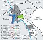 Thumbnail of Areas sampled and location of subtyped avian influenza viruses (H5N1), Laos, 2009–2010. Provinces that had previous outbreaks of highly pathogenic avian influenza and were part of the survey are indicated in gray, the province that had a previous outbreak but was not part of the survey is indicated in blue, and the province that had not had an outbreak but was part of the survey is indicated in green. Colored dots indicate presence of viruses: light blue, anti-H5 (clade 2.3.4); gray