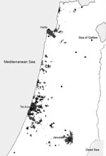 Thumbnail of Patients with imported dengue or chikungunya virus infection living in Aedes albopictus–endemic areas of Israel, 2008–2010. Of the patients with dengue and chikungunya virus disease, 66% (27/41) and 80% (12/15), respectively, lived in disease-endemic areas.