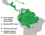 Thumbnail of Distribution of Mayaro virus (MAYV) in the Central and South America (3,5–7).
