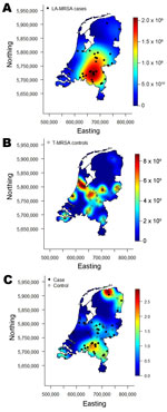 Thumbnail of A) Spatial intensity of case-patients with livestock-associated methicillin-resistant Staphylococcus aureus (LA-MRSA); B) spatial Intensity of controls with typeable MRSA (T-MRSA); and C) calculated spatial odds for LA-MRSA compared with those for T-MRSA, the Netherlands, 2003–2005.