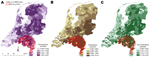 Thumbnail of Clusters of livestock-associated methicillin-resistant Staphylococcus aureus (LA-MRSA) in the Netherlands, 2003–2005, taking into account 20% population at risk with overlays showing veal calf density (A), cow density (B), and pig density (C). RR, relative risk.