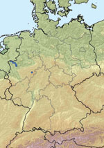 Thumbnail of Location of farms with PCR-positive cattle (blue dots) in North Rhine-Westphalia, Germany.