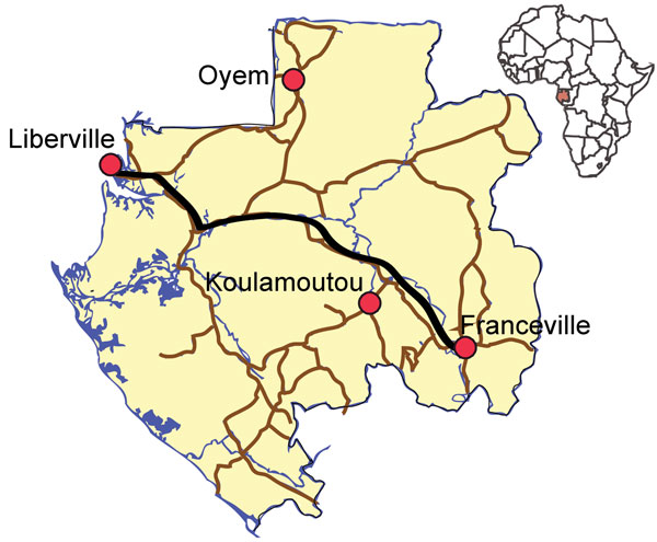 Towns in the influenza sentinel network in Gabon. Libreville was chosen as a typical urban community; Franceville, in the southeast, represents a savannah/forested rural region of 100,000 inhabitants; and Oyem (35,241 inhabitants) and Koulamoutou (16,270 inhabitants), in the north and south, respectively, represent forested rural regions.