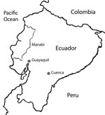 Thumbnail of Three regions of Ecuador where guinea pig serum samples were obtained: Cuenca, Guayaquil, and Manabi. The country is bordered by Colombia to the north, Peru to the east and south, and the Pacific Ocean to the west. Cuenca is located in the Andes; the average annual mean temperature is 14.7°C, and the average annual relative humidity is 85%. Guayaquil is located at the head of the Gulf of Guayaquil; the mean temperature is 26.1°C, and relative humidity is 74%. The Manabí region is lo