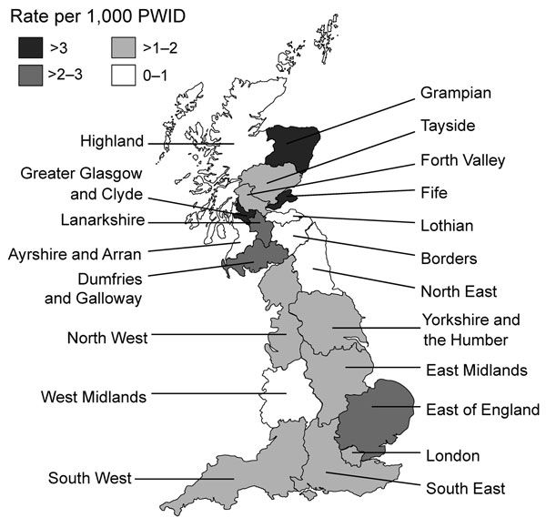 Rates of infection with spore-forming bacteria (Clostridium botulinum, C.tetani, C. novyi, and Bacillus anthracis) among persons who inject drugs, by health region, England and Scotland, 2000–2009.