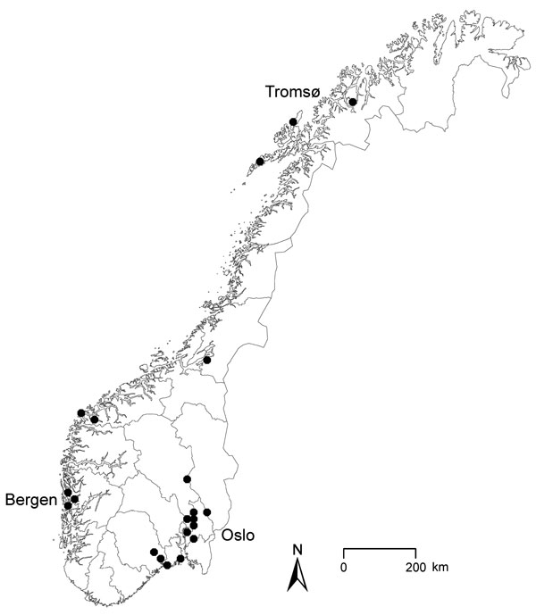 Geographic distribution of 21 outbreak cases of Yersinia enterocolitica O:9 infection, Norway, February–April 2011. Scale bar represents 100 kilometers.